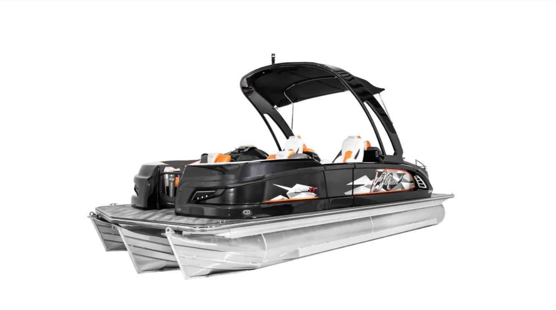 Fiberglass pontoon boat